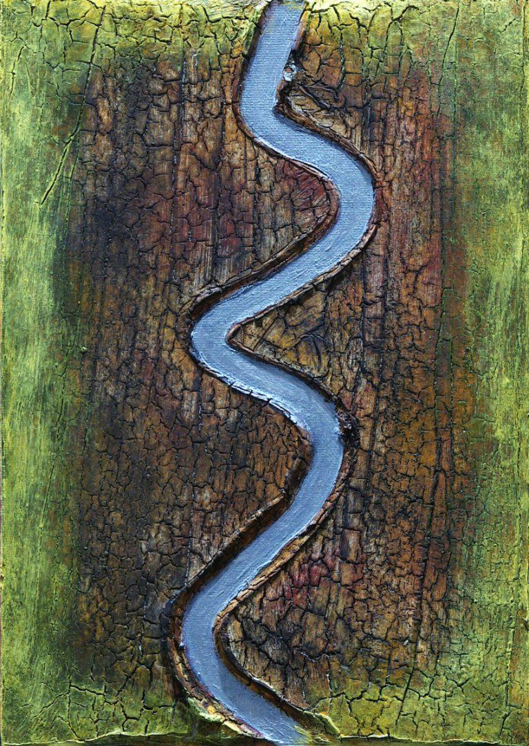 Abstrakte Kunst - Tom Helman - 200501-Durststrecke-Acryl -mit-Risspaste-auf-Malpappe-27x19cm