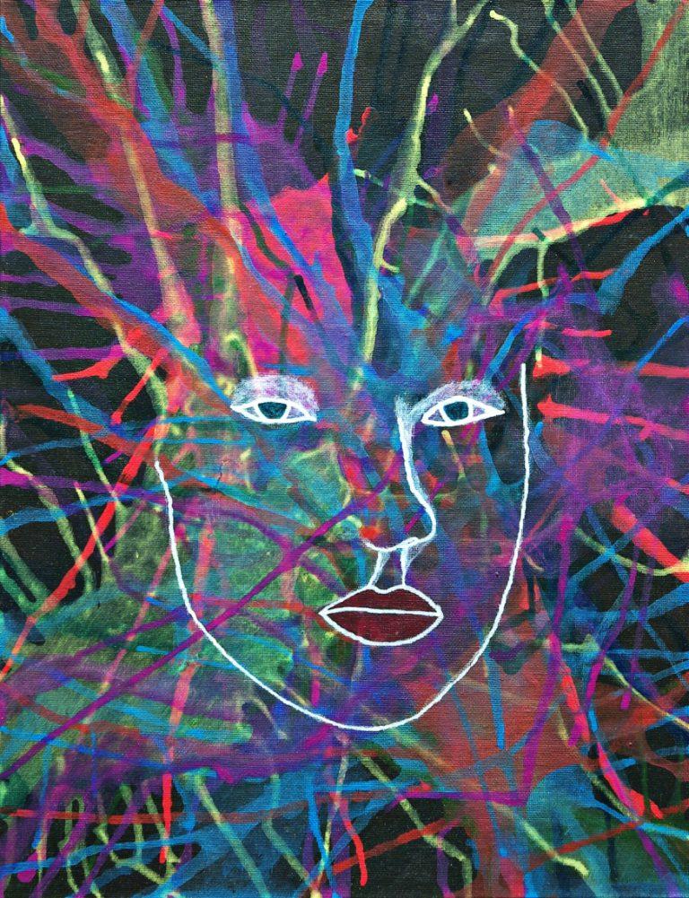 Abstrakte Kunst - Tom Helman - 200502-Fragment-einer-jungen-Frau-Acryl-auf-Malpappe-35x27cm