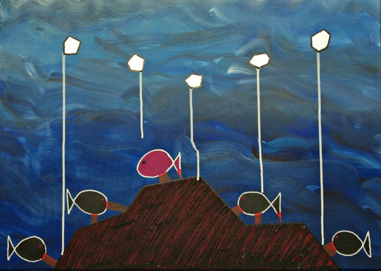 Abstrakte Kunst - Tom Helman - 210206-Vergebliches-Angeln-Abgrund-als-Köder-70x50