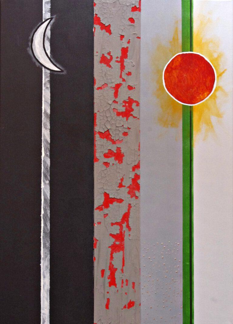 Abstrakte Kunst - Tom Helman - 210514-Sonne-Mond-und-Alu-50x70